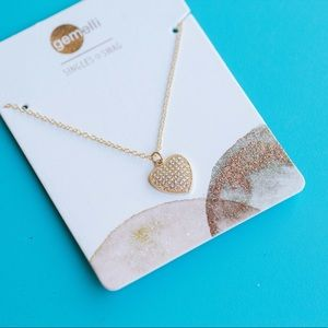 Heart shaped pendant with crystals necklace